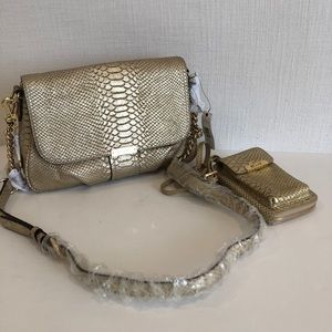 DKNY - New -Gold python print purse & chain wallet
